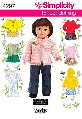 """Simplicity 4297 18"""" Doll Clothes Patterns NEW UNCUT MSRP $14.95"""