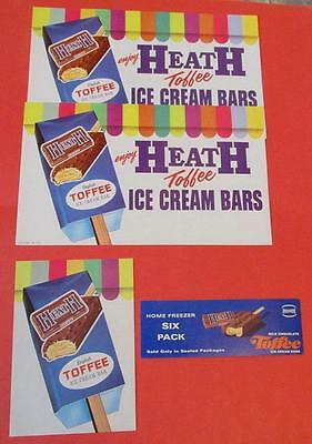 VINTAGE LOT OF 4 HEATH TOFFIE ICE CREAM BARS PAPER SIGNS