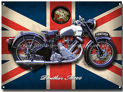 Large A3 Size Panther M100 Motorcycle Enamelled Metal Sign.british Motorcycle.