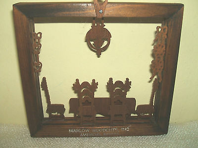 "WOOD SILHOUETTE MARLOW WOODCUT   VICTORIAN DINING ROOM      4 1/4"" X 4 3/4"""