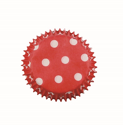 PME RED POLKA DOTS MINI Cupcake Muffin Fairy Cake Baking Cases Holders