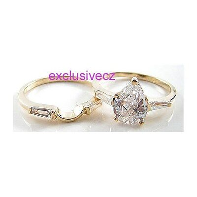Wedding Party Special~~1.9 Carats Yellow Gold Plated 18K GP CZ Ring Set Size 6