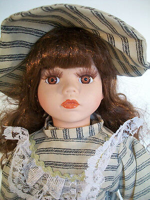 """J Misa Collection Porcelain Doll 1 of 2000 16"""" Tall Brown Hair Brown Eyes"""