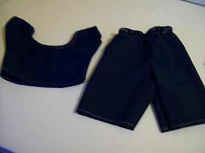 =LOT#V1 CABBAGE PATC BABY DOLLS CLOTHES 2 PC NAVY BLUE KNIT TOP & PANTS OUTFIT