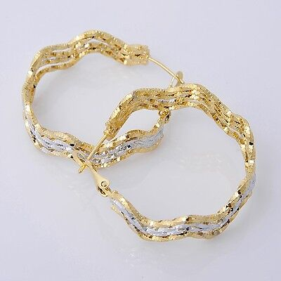 Pretty 14K Solid Yellow Gold Filled Hoop Style Womens Jewelry Earrings E006