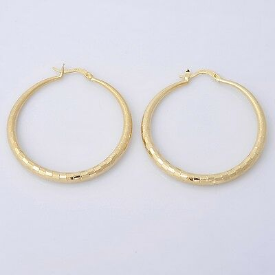 Pretty 14K Solid Yellow Gold Filled Hoop Style Womens Jewelry Earrings E009
