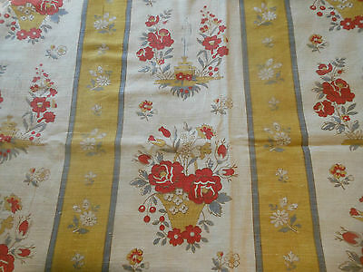 Antique French Fountain Roses Basket Pure Linen Fabric ~Mustard Yellow Red Gray