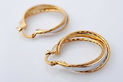 Pretty 14K Solid Yellow Gold Filled Hoop Style Womens Jewelry Earrings E309