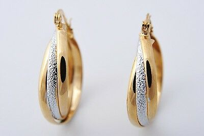 Pretty 14K Solid Yellow Gold Filled Hoop Style Womens Jewelry Earrings E308