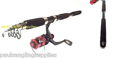 Shakespeare Firebird Carbon  Fishing Reel & Telescopic Travel Fishing Rod Line