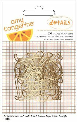American Crafts~ Amy Tangerine - DETAILS ~ SHAPED PAPER CLIPS ~24ct ~370044