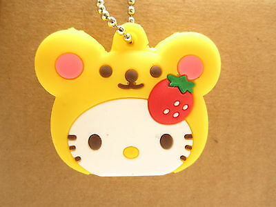 Hello Kitty Yellow Strawberry Key Cover Silicone Cap Keyring Keychain 0511060228