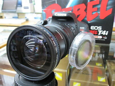 Ultra-Wide Fish Lens For Canon Eos Digital Rebel t5i t4 t4i t3i t2i w/18-55 tnd
