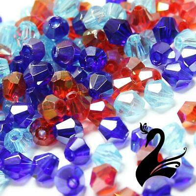Glass Crystal Beads - Bicone Faceted 4mm Clear (Pack of 48) - Craft Millinery DI