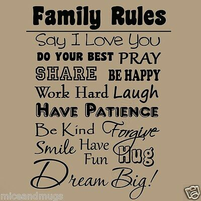 Family Rules Wall Decal Quote Inspirational Home Decor Parents Kids Family Decal