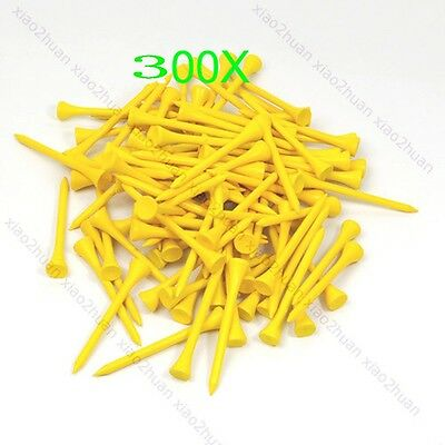 New Yellow 70mm Golf Ball Wood Tee wooden Tees Outdoor sports Brand 300pcs