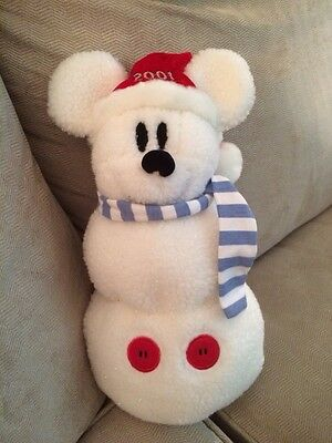 DiSNEY Plush Holiday Christmas Snowman MiCKEY MOUSE 2001