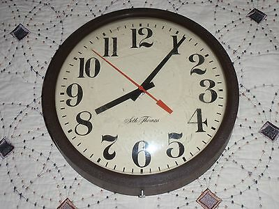 Vintage Seth Thomas Electric School Wall Clock Working Condition Model # 0709