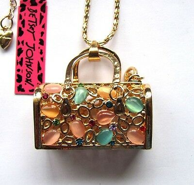 Betsey Johnson shiny crystal/opals Solid handbag pendant Necklace blue#474L