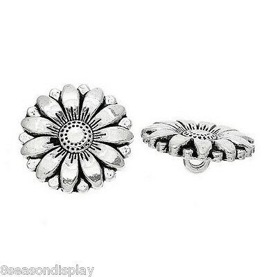 25PCs Silver Tone DIY Sunflower Carved Sewing Metal Buttons Crafts 18mm