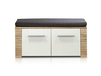 tim garderobenbank sitzbank bank f garderobe dekor buche mit sitzkissen b92 cm eur 139 00. Black Bedroom Furniture Sets. Home Design Ideas