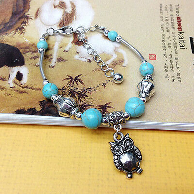NEW Free shipping Tibet silver Pendant jade turquoise bead DIY bracelet S283D