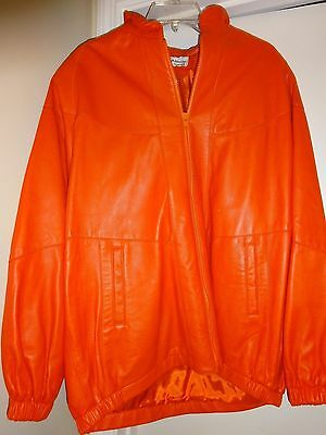 Dero by Rocco D'Amelio Rome New York Large Leather Lined Orange Jacket L@@K