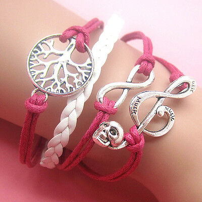 NEW Jewelry fashion Leather Cute Infinity/music Charm Bracelet Silver SL34