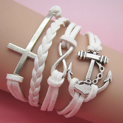 NEW Jewelry fashion Leather Cute anchor/cross Charm Bracelet Silver  SL27