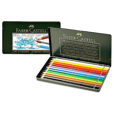 FABER CASTELL Metal Tin of 12 Polychromos Colored Pencils - Art Drawing 110012