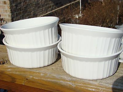 Corning Ware French White 4 18oz individual serving bowls F 16 B