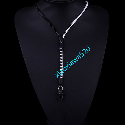 NEW Fashion Cool  zipper necklace Employee's card/key hang rope black+white F72