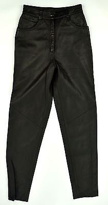 DERO by ROCCO D'AMELIO Black GLOVE SOFT Leather MOTO/NIGHT LIFE Lined Pants Sz 2