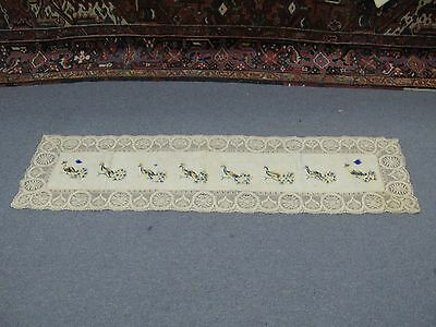 """Vintage Folk Art Hand embroidered + Lace Linen Table Runner Arts & Crafts 15x58"""""""