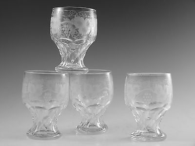ANTIQUE WINE Glass / Glasses - Fruiting Vine Pattern (I) - Set of 4