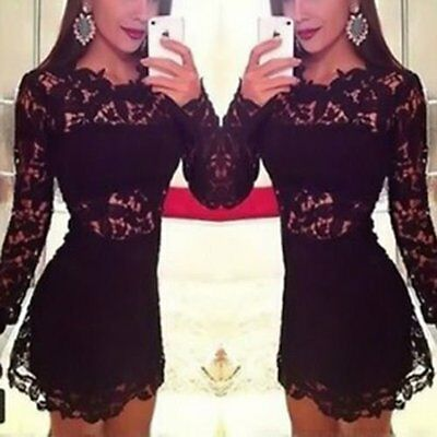 New Sexy Womens Bodycon Slim Lace Mini Dress Cocktail Club Party Evening Dress_M