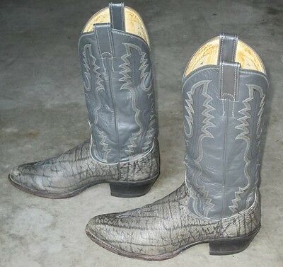 AWESOME JUSTIN EXOTIC GRAY ELEPHANT LEATHER U.S.A. WESTERN COWBOY BOOTS 9 D
