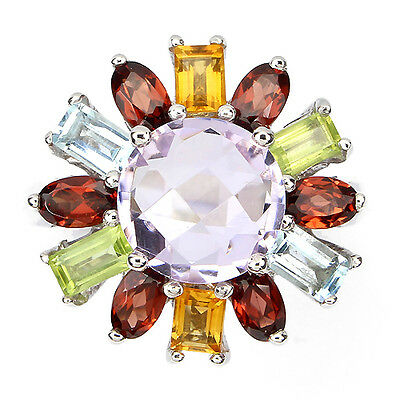 NATURAL AMETHYST-MOZAMBIQUE-PERIDOT-CITRINE-TOPAZ 925 SILVER FLOWER RING SIZE 7#