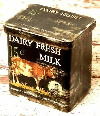 Primitive small dairy fresh COW can w/lid/ nice storage can