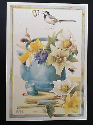 New Marjolein Bastin Hi, Thinking Of You Card Spring Flowers Daffodils in Teapot