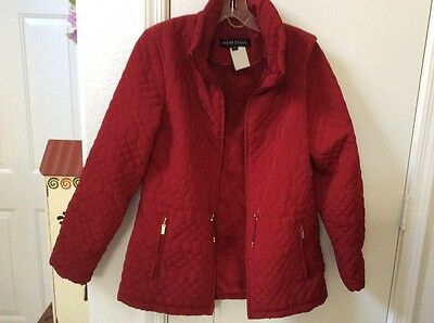 ELLEN TRACY....Women's quilted Jacket...size SMALL..faux fur lining...vivid red