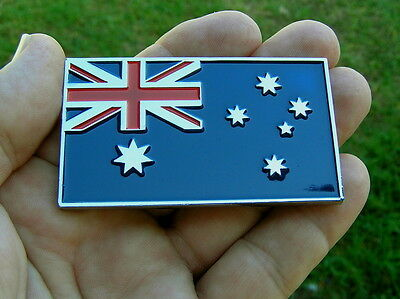 AUSTRALIAN FLAG METAL CAR BADGE Chrome Emblem *NEW & UNIQUE!* Aussie Australia