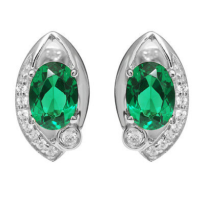 1.5ct Nano Russian Emerald Earrings Stud Stunning Solid 925 Sterling Silver