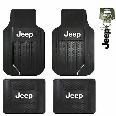New Jeep Elite Series Logo Front Rear Back All Weather Rubber Floor Mats Black