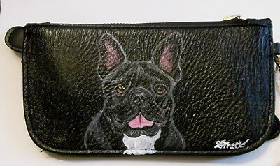 French Bulldog Dog Hand Painted Women's Faux Leather Wallet