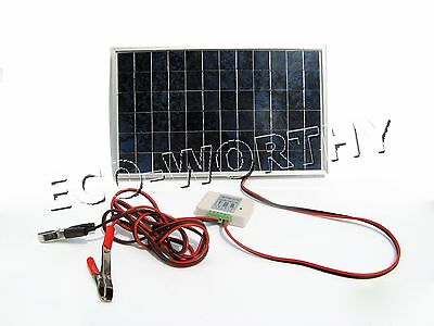 10Watt Poly Solar Panel  system kit W/ 3A charge controller & 30A battery clips