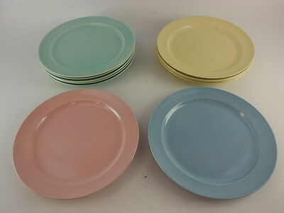 Lot (11) of Assorted Luray Pastels Dinner Plates Blue, Green, Yellow, & Pink