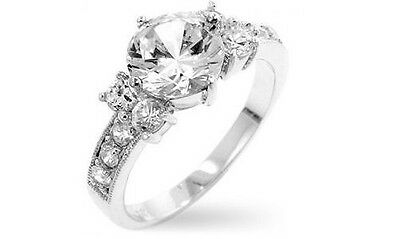Five Stone 18K White Gold GP Size 10 Simulated Diamond Engagement Ring - G23