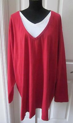 Liz & Me Woman Red & White 2-in-1 Long Sleeve Shirt Top Sz 5X 34/36W