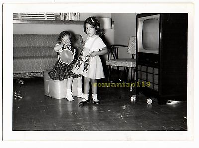 Vintage Photo 1950s Cute Little Girl POODLE Skirt Television Old TV Set Doll TOY